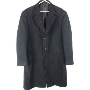Jos A Banks Gray Black Wool Button Peacoat Coat